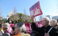 通常国会開会に合わせて開かれた、国会周辺で安保関連法制の廃止と安倍政権の退陣を訴える集会の参加者ら=東京都千代田区で2016年1月4日午後0時20分、後藤由耶撮影