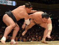 日馬富士(左)に上手投げで敗れる白鵬=東京・両国国技館で2016年1月24日、喜屋武真之介撮影