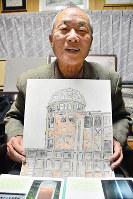 原爆慰霊碑の水彩画を画集にまとめた藤登弘郎さん=広島市安芸区で、石川裕士撮影