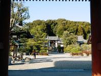 叡福寺の山門の正面に五字ケ峯と太子廟が鎮座する=大阪府太子町で、松井宏員撮影