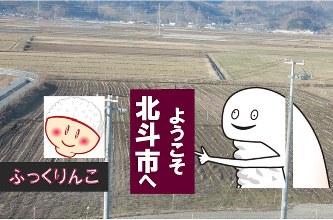 「ずーしーほっきー」(右)や「ふっくりんこ」のロゴ(左)などをあしらった田んぼアートが今夏、新函館北斗駅近くの水田に登場する=JA新はこだて提供