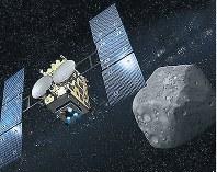 「はやぶさ2」と小惑星「リュウグウ」の想像図=JAXA提供