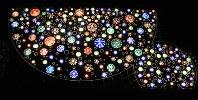 スカイツリーの地上と「天望デッキ」を結ぶエレベーター内の「隅田川の空」をイメージした装飾=東京都墨田区押上の東京スカイツリーで、柳澤一男撮影