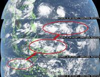 MJOによって太平洋上に三つの台風が生まれた。下から2015年6月14日、24日、7月3日、8日のひまわり8号の画像=千葉大提供
