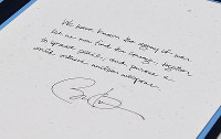 A message that U.S. President Barack Obama left in a guest book at the Hiroshima Memorial Peace Museum in Hiroshima's Naka Ward on the evening of March 27, 2016. It reads,
