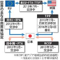 世界の主な自由貿易協定