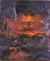 「憐れむべし自宅の写生」、1893年、油彩・カンバス、台東区立書道博物館蔵