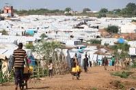 国連施設内にある避難民キャンプ=ジュバ市内で1日、小泉大士撮影