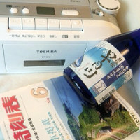 寝酒3点セット。お酒は私の好きな富山の焼酎。夢心地です