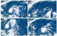 ひまわり8号から見た今年の台風1号。発生翌日の7月4日から5日、6日、7日と急速に発達する様子が分かる=千葉大提供