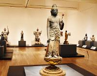 会場で来場者を迎える42体の仏像=東京都台東区で、若本和夫撮影