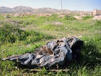 イラク北西部ハルダン村、住民虐殺の現場。ここで500人がISに殺され、衣類の下からは人骨が出てきた=2016年3月、玉本英子さん撮影