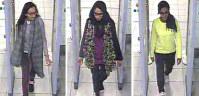 ロンドンの空港の監視カメラが捉えたシリアに渡る少女3人の画像。左端が空爆で死亡したとみられる少女=昨年2月、ロンドン警視庁提供・AP