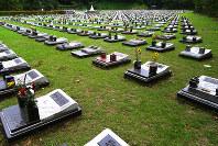 整然と並んで建てられた「芝生型墓所」。このタイプは花立は、設置できるという=川崎市内で、滝野隆浩撮影