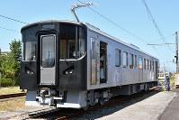 一畑電車の新車両。外装デザインは公募する=鳥取県米子市のJR西日本後藤総合車両所で、山田英之撮影