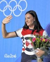 リオ五輪で勇姿を見せる機会なく、引退を表明したロシアのエレーナ・イシンバエワ=リオデジャネイロで19日、和田大典撮影