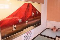 赤富士とタンチョウヅルを描いた絵が浴場に飾られた元町湯=徳島市佐古八番町で、数野智史撮影