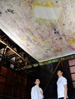 床を拓本した12枚のサラシの天井を見上げる宮永さん(左)=奈良市北風呂町で、藤本柳子撮影