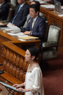 Democratic Party President Renho stands behind the podium to discuss Prime Minister Shinzo Abe's Sept. 26 policy speech during a House of Councillors plenary session on Sept. 28, 2016. (Mainichi)