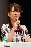 集会で原発について語る雨宮処凛さん=大阪市中央区で2016年10月1日、望月亮一撮影