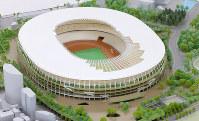 新国立競技場の模型=長谷川直亮撮影