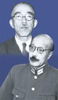 東条英機(右下)と勝田永吉=コラージュ・日比野英志