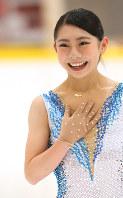 東日本学生フィギュアスケート選手権に出場した中塩美悠さん=東京都東大和市で2016年10月15日、佐々木順一撮影