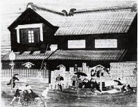 明治初年ごろの日本橋(東京)の店を描いた絵=西川産業提供