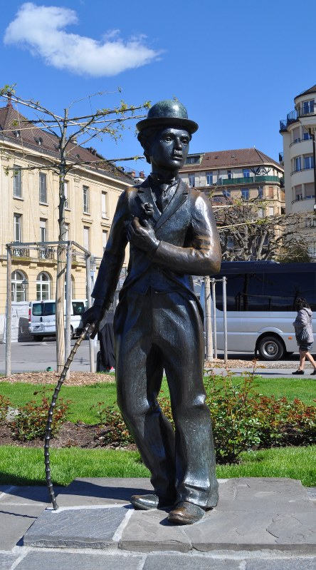 A statue of Charlie Chaplin as his famed