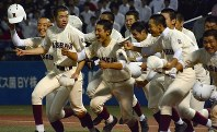 劇的なサヨナラ勝ちで優勝し、三塁側応援席に向かって駆け出す早稲田実ナイン=神宮球場で
