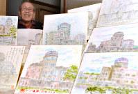 Hiroshi Hara displays his paintings of Hiroshima's Atomic Bomb Dome in Hiroshima's Aki Ward on Nov. 7, 2016. (Photo by Naohiro Yamada)