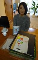 アルバムの山と遺影に使った父の写真を前にする石垣佳代子さん=東京都世田谷区で