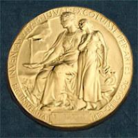 ノーベル医学生理学賞受賞者に贈られるメダルの図柄。反対側にはアルフレッド・ノーベルが描かれている=ノーベル財団提供