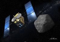 打ち上げから丸2年となった、はやぶさ2の想像図=イラスト・池下章裕氏、JAXA提供