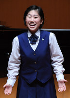 声楽部門高校の部で1位になった竹内菜緒さん=横浜市西区の横浜みなとみらいホールで7日、猪飼健史撮影