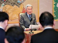 Emperor Akihito speaks at a news conference at the Imperial Palace on Dec. 20, 2016, prior to his birthday on Dec. 23. (Pool photo)