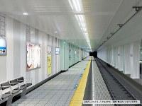 リニューアル後の竹橋駅の壁のデザイン=東京メトロ提供