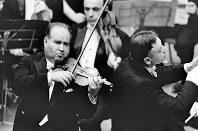 モスクワ国立フィルハーモニー交響楽団を指揮するコンドラシン(右)とオイストラフ=兵庫県宝塚市の宝塚大劇場で1967年4月10日