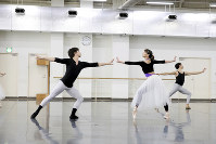 ロビンズ「イン・ザ・ナイト」の稽古に励む東京バレエ団の柄本弾(左)と上野水香(中央)=写真家、長谷川清徳撮影