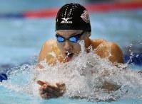 優勝した渡辺一平の平泳ぎ=東京辰巳国際水泳場で2017年2月19日、猪飼健史撮影
