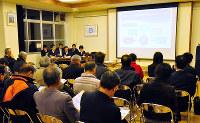 大津市教委が各学区で順次開いている地域説明会の様子=大津市で、田中将隆撮影