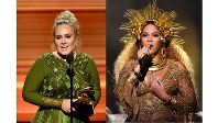 グラミー賞授賞式のアデル(左)とビヨンセ(右)=写真Getty Images/素材提供WOWOW
