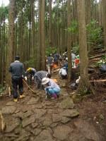 JTの社員らは石畳に積もった土を取り除いて再生に取り組んだ=熊野古道中辺路の女坂で、和歌山県観光局提供