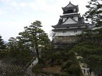 江戸期のままの姿を残す高知城天守閣=高知市で、田中博子撮影