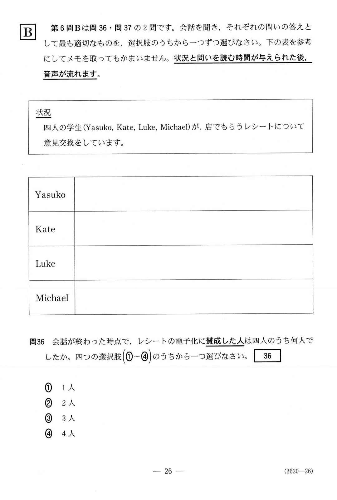 外国語・リスニング 第6問B