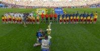 【ドイツ−アルゼンチン】試合前の国歌斉唱の様子=ゲッティ