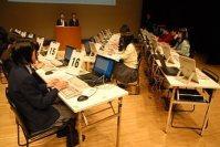 134人がキーボードの入力の速度と正確性を競った毎日パソコン入力コンクール全国大会=東京都渋谷区の同区文化総合センター大和田で2014年12月7日午前、仲村隆撮影