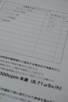 除染現場から持ち出す機材について放射性物質の測定をせずに現場責任者が書いた記録