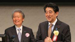 経団連の定時総会でスピーチする安倍晋三首相
