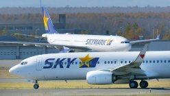 滑走路を移動するスカイマークの航空機
